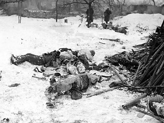 Dead German soldiers in Jebsheim (photo courtesy www.dogfacesoldiers.org)