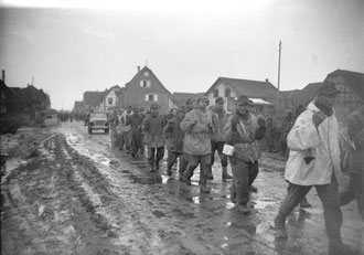 German PoW's of the 137. Geb. Jg Rgt leave Jebsheim after the battle