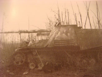 Knocked out Nashorn at Erlen near Illhäusern (Photo courtesy Karl-Heinz Münch - History of schw. Pz.Jg.Abt 654)