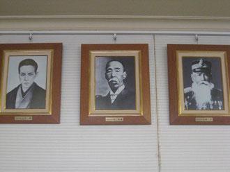 初代広島市長三木通 第2、4、5代広島市長伴資健 第3代広島市長佐藤正(左から)