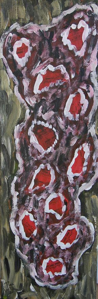 Maux d'Automne. Acrylique et collage sur toile.