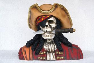 réplica cabeza pirata esqueleto