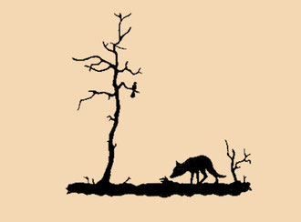 Fuchs unter Bäumen