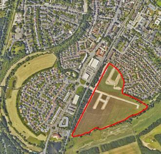 Neubaugebiet 'Am Alten Angerbach'   Luftbild: Sommer 2020 (Quelle: https://geoportal2.duisburg.de/geoportal/stadtplan/)