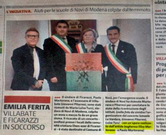 in foto l'opera e l'evento sul Giornale di Sicilia del 5 Dicembre 2013 pag 28