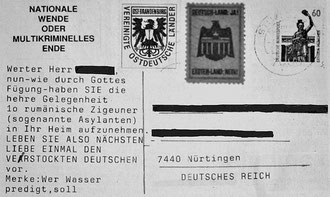 "Rechtsradikale Postkarte mit Hetze gegen rumänische Roma, adressiert an ""Nürtingen, DEUTSCHES REICH"", 1993"