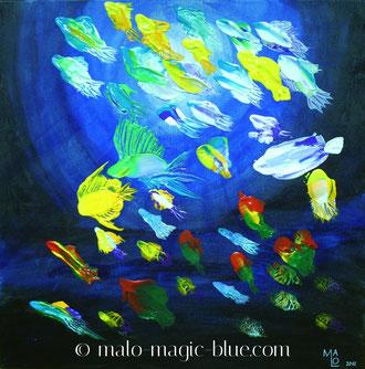 Mario, Lorenz, Künstler, Kunst, Graz, kaufen, Acryl, Bild, Malerei, Gemälde, Fische, bunt, blue, blau, rot, gelb, türkies, grün, violett, weiß, Licht, Meer, fröhlich, Wohnzimmer, Kinderzimmer, repräsentativ, günstig, leistbar, aktuell, neu, jetzt, kaufen,