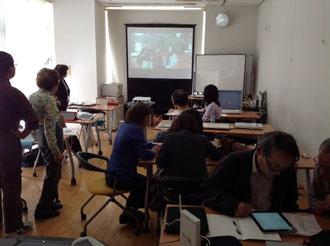 ☆29日(火)のタブレット講座風景。iMovieの作品発表。