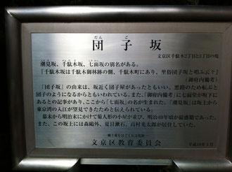 写真は今回講座が行われる「ふれあいサロン汐見」にいたる地下鉄千代田線の「千駄木」駅の出口から団子坂の途中にある由来書き