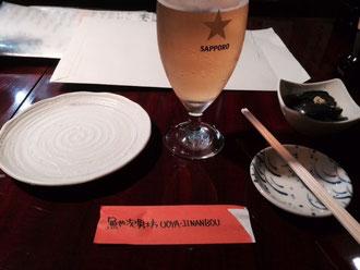 ☆生田美子さんと三軒茶屋の「魚や次男坊」で祝杯兼打合。