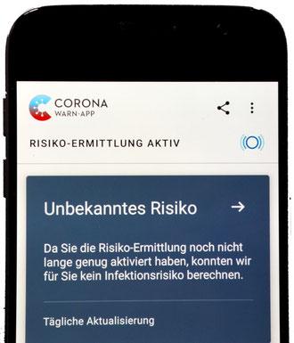 Corona-Warn-App kurz nach der Installation (Foto: Harald Kloth)