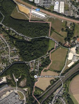 """Grenzverlauf.Ohne das erfolgte"""" Rückhaltebecken der Stadt Bochum""""Dieses Becken ist im Bild nicht sichtbar."""