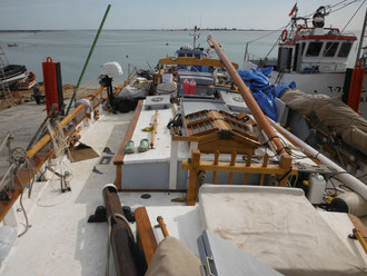 A view of the deck – not quite in pristine sailing condition