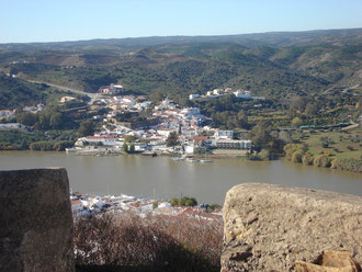 The village of Alcoutim on the Portuguese side, seen from the castle above Sanlúcar