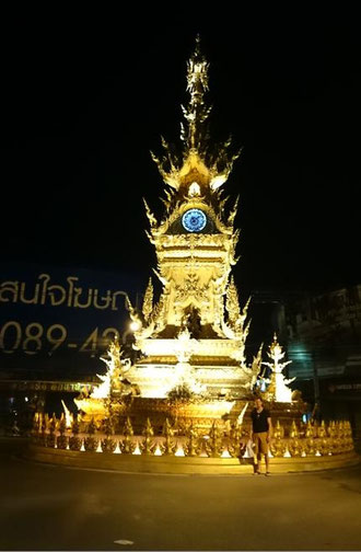freaky travel, Zinskraft, Gastartikel, Thailand, Chiang Rai, Old Clock Tower, nachts