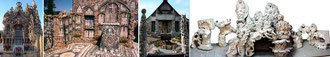 Les tombeaux du Facteur Cheval, de Picassiette et Tatin, et la maquette du Colossal d'Art brut de Danielle Jacqui