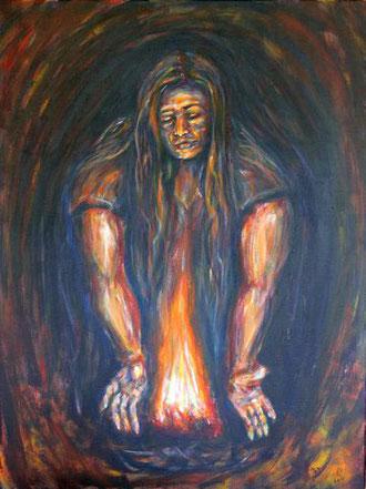 Frau behuetet das Feuer