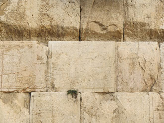 Древние камни Стены Плача в Иерусалиме.