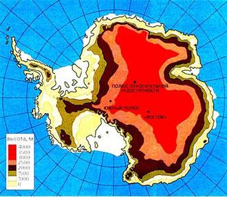 Рисунок 1. Высота ледника Антарктиды