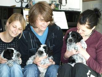 Dana mit Aqua, Leon mit Aika und Jelena mit Rudi