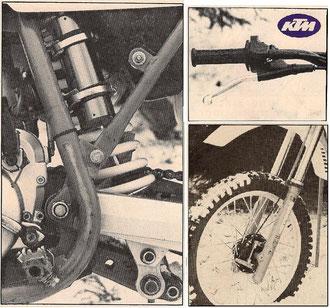 """La (longue) fourche Marzocchi ne bénéficie pas de soufflet de protection. Le mono amortisseur, possède son """"mécanisme"""" sous l'oscillant, un système employé par Honda. La poignée  à gaz est une Magura 314."""