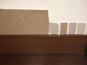 Unten unsere Arbeitsplatte, darüber links Macchiato, direkt daneben Stone (der Rest ist schon raus)