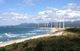 島根県の海岸、水力発電のたくさんある風景