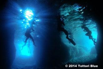 青と緑の洞窟