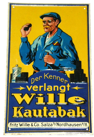 WILLE Kautabak Blechschild