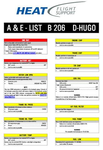 Notfall-Checkliste  Bell 206  Jet Ranger