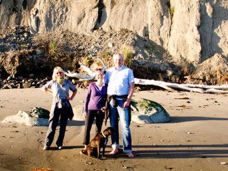 Mit Sybille, Christian und Oskar am Strand