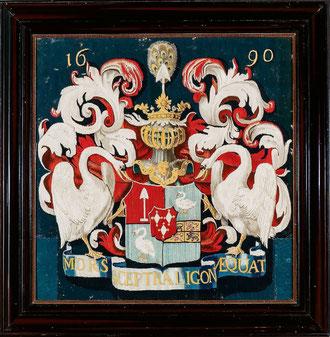 Wappen als Vrijheeren von Zuid-Polsbroek sowie als Vrijheeren oder Herren von Purmerland und Ilpendam von 1610/1678–1870 (Schaufel, Gänse und Rauten)