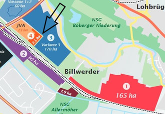 """In guter Nachbarschaft zu Oberbillwerder. Ausschnitt aus """"Karte der Zerstörung"""""""