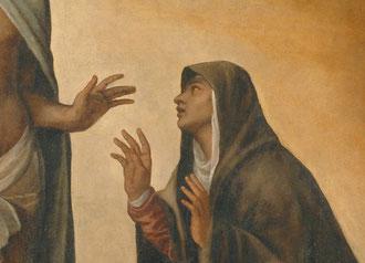 Il Cristo Risorto appare alla Madre, Particolare.
