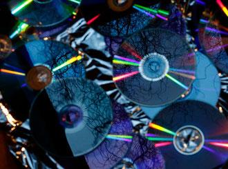 CDs reflektieren Zweige in bläulichen Farben