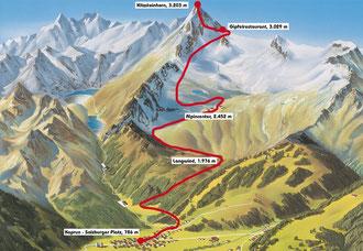 Die Strecke aufs Kitzsteinhorn
