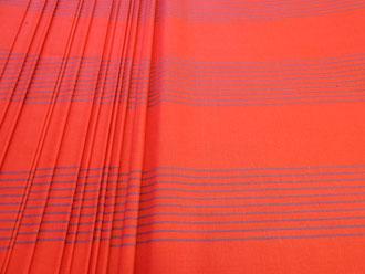 Bezugstoff rot-blau gestreift