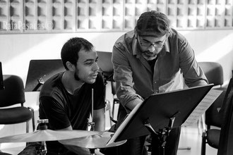 With Ton Risco during a rehearsal