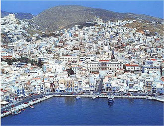 Syros Aerial View of Ermoupolis harbour