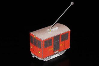 Modell-Elektrolokomotive Ge 2/2 Nummer 3, der Bergbahn Lauterbrunnen–Mürren (BLM).
