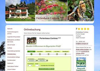 screenshot Homepage Buchung