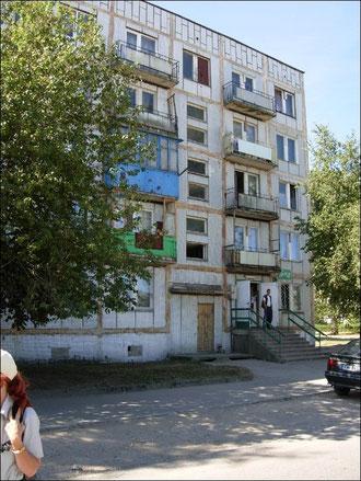 Plattenbauten in Lirpaja aus russischer Vorzeit.