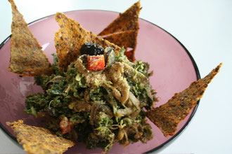 Asian Kale and Eggplant Curry with Flax Crackers