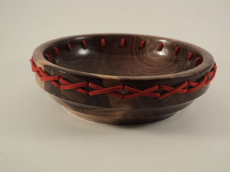 Leather laced Walnut Bowl
