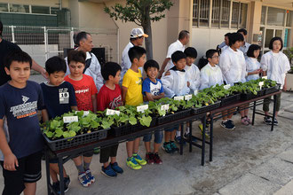 育てた苗を農家に引き渡す松戸市立中部小学校の児童たち