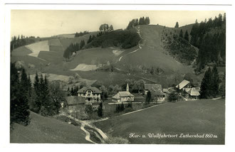 Luthern Bad, Kur- und Wallfahrtsort Luthernbad 860 m, ohne Waldbruderklause Alpenblick, Postkarte mit Poststempel Luthern, 11.12.1927  (LB 13)