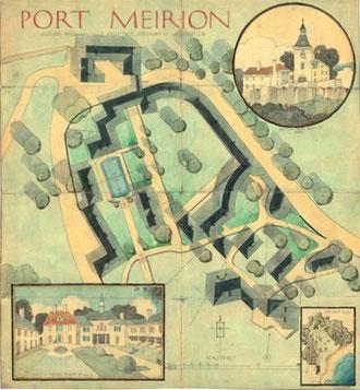 Port Meirion proposed layout plan 1925. © Portmeirion Ltd.