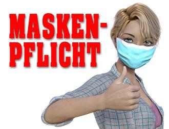 Frau in einem karierten Hemd trägt eine Alltagsmaske und weist auf die Maskenpflicht während der Corona Krise hin