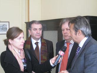 Gli avvocati La Via, Benintende e Timpanaro intervengono alla conferenza stampa
