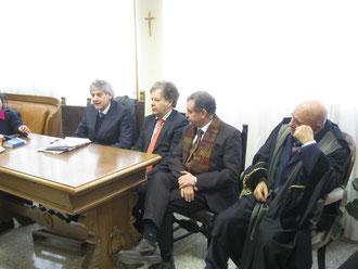 Da sinistra: Avv.Emanuele Li Muti, Avv. Salvatore Timpanaro, Avv. Nino Benintende, Avv. Giuseppe Iacona, Presidente del COA Distrettuale di Caltanissetta